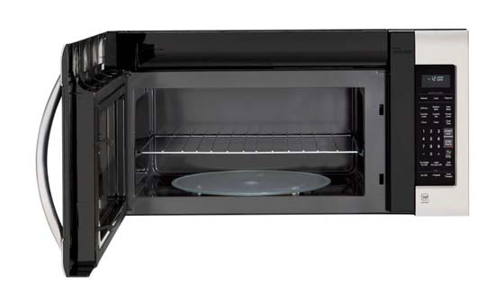 microwave with a metal rack